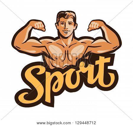strong muscular man flexes hands. vector illustration