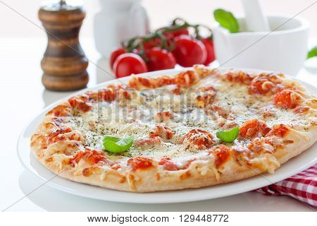 Fresh baked pizza with melted cheese, Italian herbs and tomato sauce and fresh basil on a white plate on a kitchen background, selective focus
