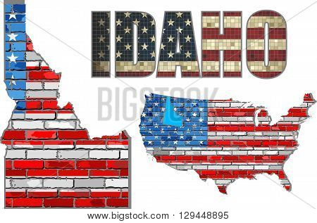 USA state of Idaho on a brick wall - Illustration, The flag of the state of Idaho on brick textured background,  Idaho Flag painted on brick wall, Font with the United States flag,  Idaho map on a brick wall