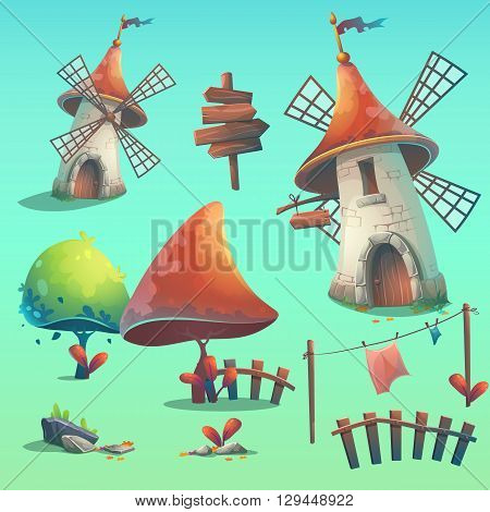 Set of isolated vector elements - windmill hedge fence paling tree flower rocks rope stick lingerie grass pointer sign. Print create videos or web graphic design user interface posters websites.