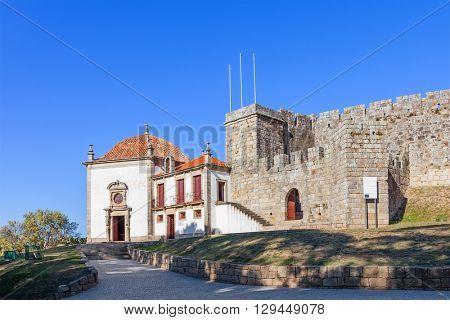 Santa Maria da Feira, Portugal - October 12, 2015: Nossa Senhora da Esperanca Chapel in the outside wall of the Feira Castle.