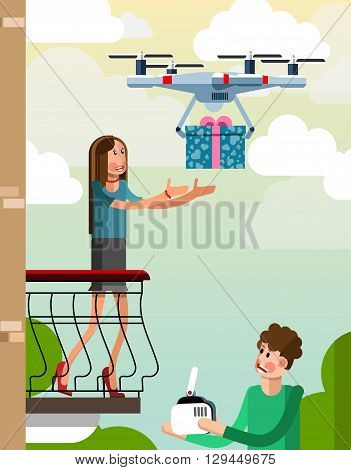 The guy using the drone delivers the gift to the girl on the balcony. Illustration in a flat style
