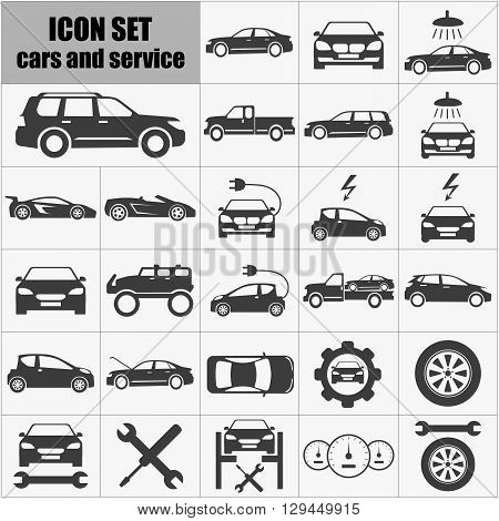 Vector auto Icons set. Cars and service Icons Symbol set. Cars and service Icons Picture set. Auto Icons Shape set. Auto Icons set universal set for web and mobile.