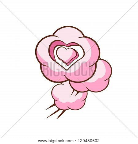 Three Heart Shaped Clouds Flat Outlined Pink Cartoon Girly Style Icon On White Background