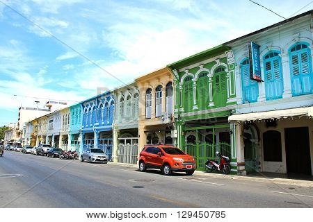 PHUKET THAILAND - May 4: The street scene of China Town in Phuket Thailand on May 4 2016. China town in Phuket Island is one of the oldest Chinese communities in Southeast of Asia.