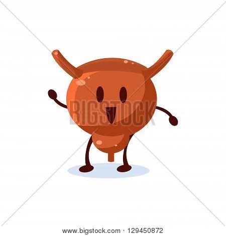 Uterus Primitive Style Cartoon Character In Flat Childish Vector Design Illustration Isolated On White Background