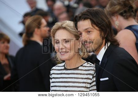 Diego Luna, Marthe Keller attend the 'Cafe Society' premiere and the Opening Night Gala during the 69th Cannes Film Festival at the Palais des Festivals on May 11, 2016 in Cannes, France.