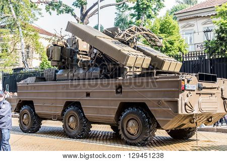 Sofia, Bulgaria - May 06: Day of Valor. Surface-to-air missile system 9K33 Osa AK on military hardware parade. Back view. On May 06, 2016 in Sofia