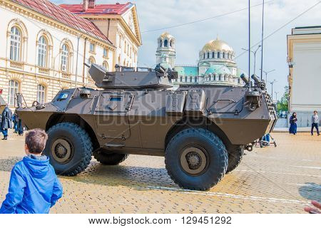 Sofia, Bulgaria - May 06: Day of Valor. Four-wheeled armored vehicles commando select on military hardware parade. Back view. On May 06, 2016 in Sofia Bulgaria.