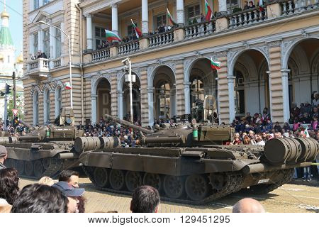Sofia, Bulgaria - May 06: Day of Valor. Armored vehicles tracked tanks T72 on military hardware parade. Back view. On May 06, 2016 in Sofia Bulgaria.