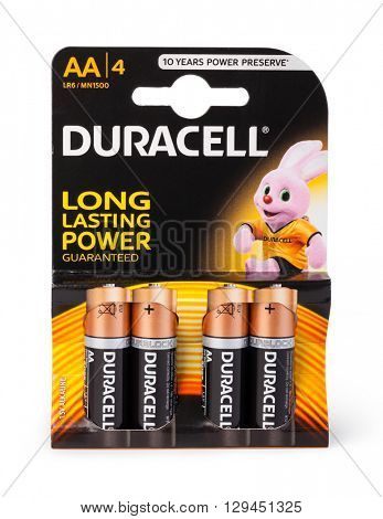 Moldova, March 17, 2016. Pack of 4  Duracell alkaline AA Batteries