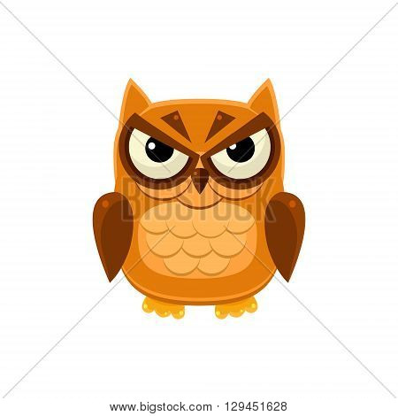 Angry Brown Owl Adorable Emoji Flat Vector Caroon Style Isolated Icon