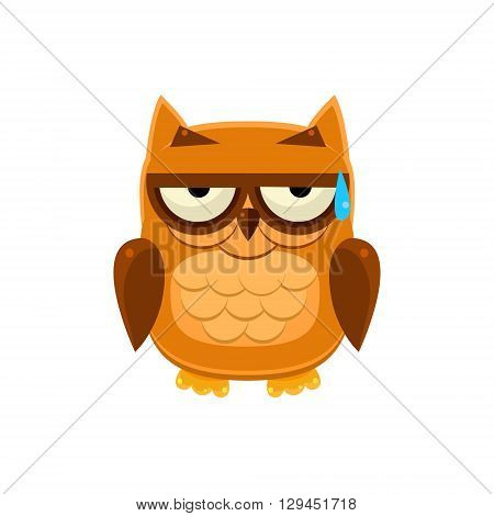 Brown Owl In Cold Sweat Adorable Emoji Flat Vector Caroon Style Isolated Icon