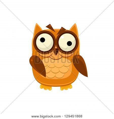 Crazy Brown Owl Adorable Emoji Flat Vector Caroon Style Isolated Icon