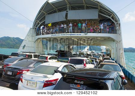 TRAT, THAILAND - MAY 8, 2016: Passenger in ferry boat at Koh Chang Island, Trat, Thailand. Koh chang Is the second largest island of Thailand.