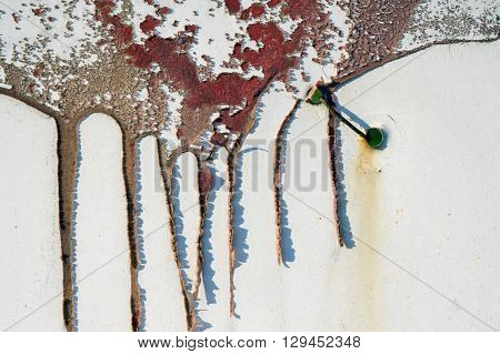 Old Dirty, Grunge,metal Fence With Runny Red Paint 6