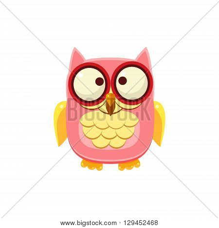 Cross-eyed Pink Owl Adorable Emoji Flat Vector Caroon Style Isolated Icon