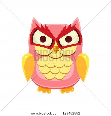 Pink Owl Holding the Laughter Adorable Emoji Flat Vector Caroon Style Isolated Icon