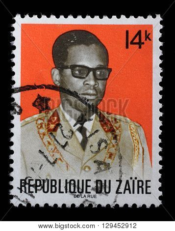 ZAGREB, CROATIA - SEPTEMBER 18: a stamp printed in the Zaire shows Joseph D. Mobutu, President of Zaire, 1965 - 1997, circa 1973, on September 18, 2014, Zagreb, Croatia
