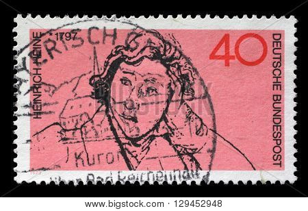 ZAGREB, CROATIA - JULY 03: a stamp printed in the Germany shows Heinrich Heine, Poet, circa 1972, on July 03, 2014, Zagreb, Croatia