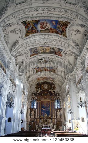 BENEDIKTBEUERN, GERMANY - OCTOBER 19: Saint Benedict basilica in the famous Benediktbeuern abbey, Germany on October 19, 2014.
