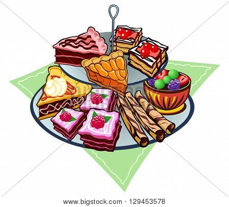 Heap of pastries, cake, cookies and fruit