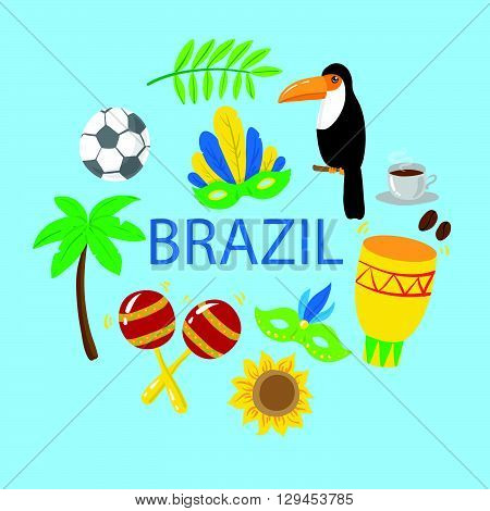 Set of brazilian elements on blue background. Vector illustration