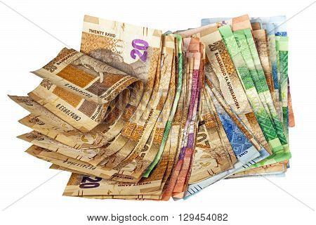 Crumpled Stack Of South African Rand Bank Notes
