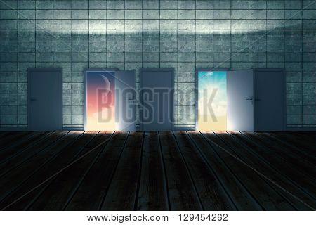 Doors opening in dark room to show sky against magical sky