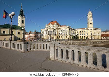 Oradea City Town Hall in Union Square, Romania