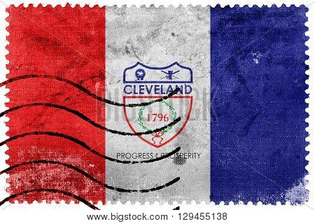 Flag Of Cleveland, Ohio, Old Postage Stamp