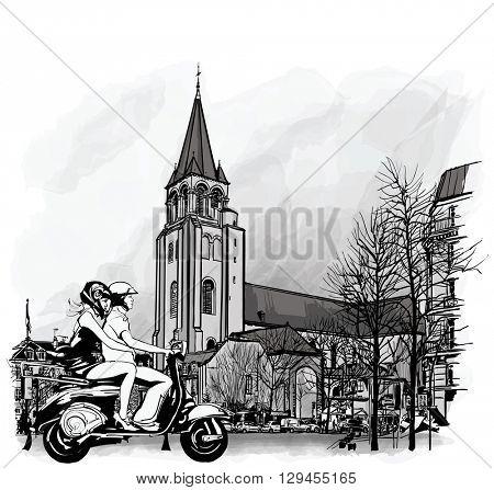 Couple on a scooter in Paris, Saint Germain des Pres - vector illustration