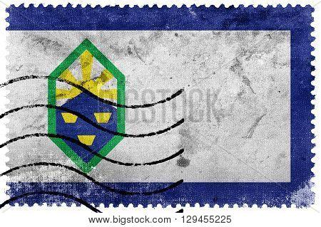 Flag Of Colorado Springs, Colorado, Old Postage Stamp