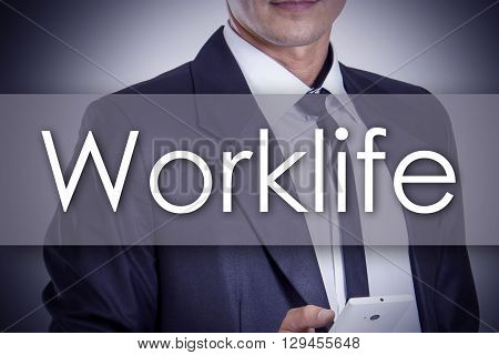 Worklife - Young Businessman With Text - Business Concept