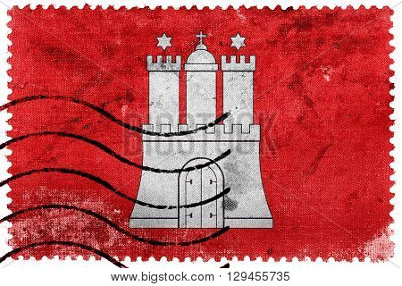 Flag Of Free And Hanseatic City Of Hamburg, Old Postage Stamp