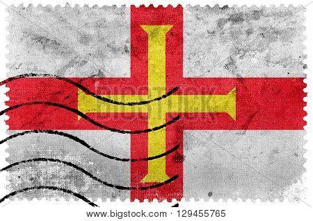 Flag of Guernsey old postage stamp, vintage look