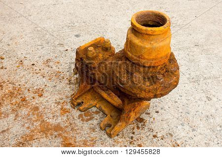 Old sewage pump and rust corrosion, Submerged pump