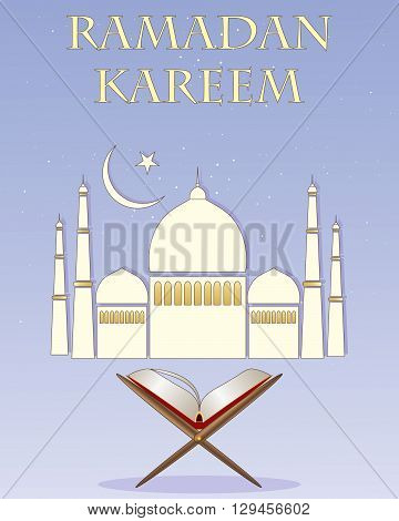 an illustration of an islamic greeting card for a religious festival with stylized mosque and a copy of the koran on a blue starry background