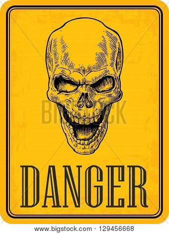 Skull on sign danger. Black vintage vector illustration. For poster and tattoo biker club. Hand drawn design element isolated on yellow background