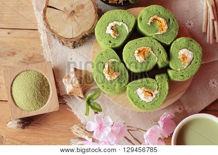 Green tea cake roll and matcha green tea