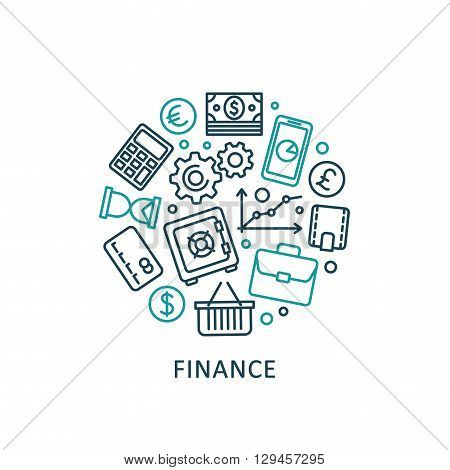 Flat design elements of banking and finance. Vector collection icons.