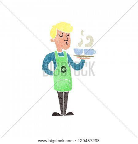 freehand retro cartoon barista serving coffee