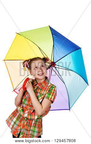 Cute fashionable teen girl with iridescent umbrella looking up