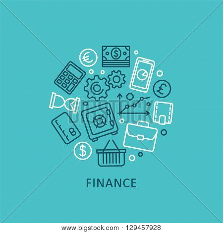 Flat design elements of finance strategy, financial services for corporate business, stock market analytics. Vector collection business and finance icons for print or web.