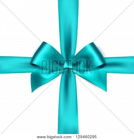 Shiny blue satin ribbon on white background. Vector blue bow. Blue bow and blue ribbon