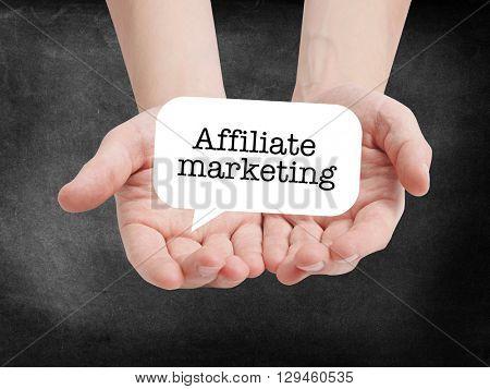 Affiliate marketing written on a speechbubble