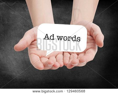 Ad words written on a speechbubble