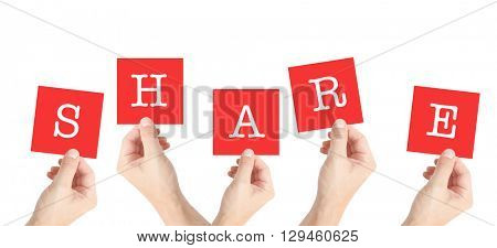Share written on cards held by hands