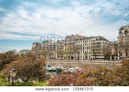 PARIS, FRANCE - May 7 : beautiful Street view of  Buildings around Paris city. Paris is the capital and most populous city of France. May 7, 2016, in Paris, France.