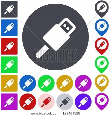 Color usb icon, button, symbol set. Square, circle and pin versions.